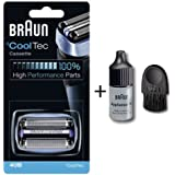 Braun 40B CoolTec Replacement Foil & Cutter Cartridge for all Braun CoolTec Mens Shavers, Compatible with CT2CC, CT2S, CT4CC, CT5CC, Features Active Cooling Technology with Advanced 3-Stage Cutting System, and Senso-Blade Technology with Cleaning Brush and Oil