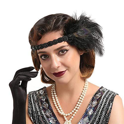 Vintage 1920s Flapper Headband Roaring 20s Great Gatsby Headpiece Accessories for Women Feather Hair Clip