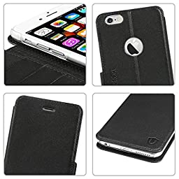 iPhone 6S Plus Case, iPhone 6 Plus Case, SHIELDON Premium Genuine Leather Wallet Case Stand Cover for iPhone 6/6S Plus (5.5 inch) Black