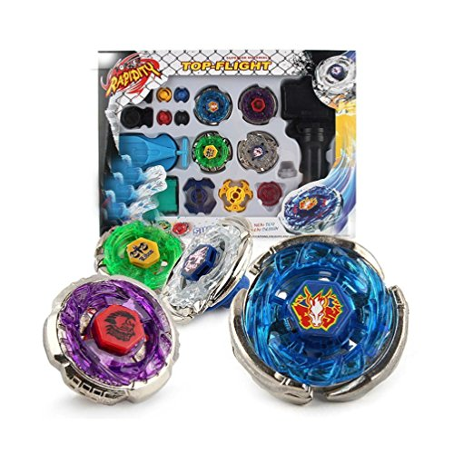 JKC Kids Fusion Metal Storm/Flame/Earth/Lightning Launcher Grip Gyro Tops Four-Piece Set by JKC KIDS