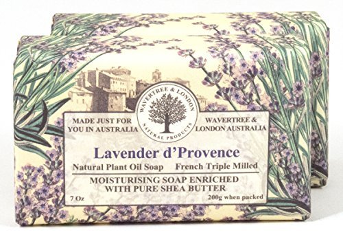 Wavertree London Natural Plant Oil French Triple Milled Moisturizing Soap with Pure Shea Butter 7 oz each Lavender d Provence 2-Pack
