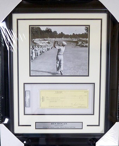 - Ben Hogan Autographed Signed Framed 8x10 Photo With Check - PSA/DNA Certified