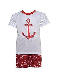 Little Boys White Red Anchor Fish Print Trunks Sailor 2 Pc Swimwear Set 3T-6