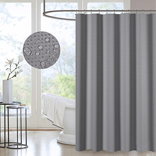 Waterproof Fabric Shower Curtain Grey Gray Decorative Waffle Shower Curtain for Hotel Spa Metal Grommet Antibacterial Mildew-Free 71x71 by SearchI (Image #5)