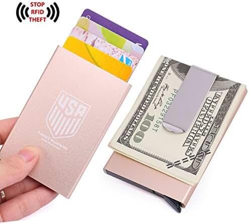 Credit Card Holder Automatic Pop-Up Sliding Aluminum Card Holder Wallet, RFID Blocking & Money Clip