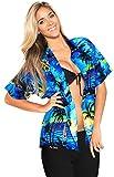 LA LEELA Women's Hawaiian Shirt Beach Aloha Swim Shirt for Women XL Blue_W929