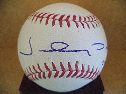 Autographed Damon Johnny Baseball (JOHNNY DAMON #18 04 WS CHAMPS RED SOX SIGNED AUTOGRAPH M.L. BASEBALL W/COA A)
