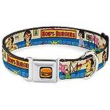 Buckle Down Seatbelt Buckle Dog Collar - BOB'S BURGERS Belcher Family Kid's Food Fight - 1'' Wide - Fits 11-17 Neck - Medium