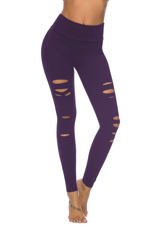 DIBAOLONG Womens High Waist Yoga Pants Cutout Ripped Tummy Control Workout Running Yoga Skinny Leggings Purple XL by DIBAOLONG