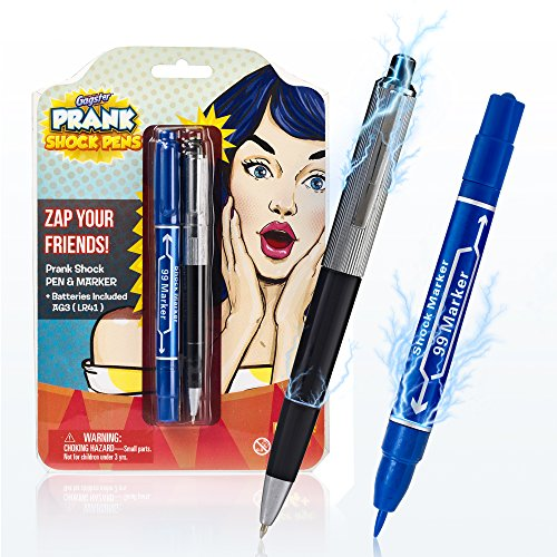 Gagster Shock Pen & Marker Prank Set 2-in-1 Funny Trick Pens Gag Gift | Fool Your Friends & Family and Make Them Laugh with Electric Shocking Practical Joke Toys That Really Write | Pack of 2