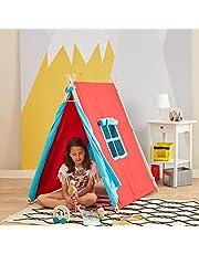 Svava Ahşap Çocuk Oyun Çadırı - Oyun Evi (Kırmızı - Turkuaz)