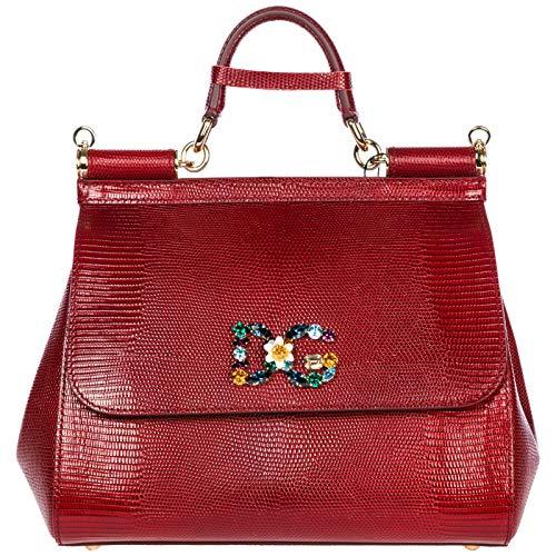 cuir en femme amp; rouge à Gabbana Dolce sac main sicily XC0wPwZq