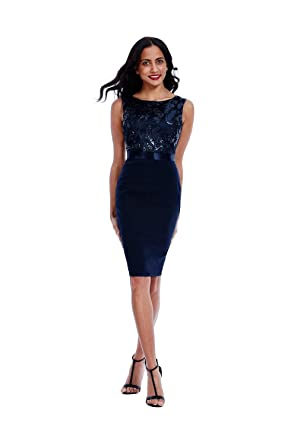 99d08ad3a4 Goddiva Navy Sequin Embellished Bodycon Midi Party Dress  Amazon.co ...