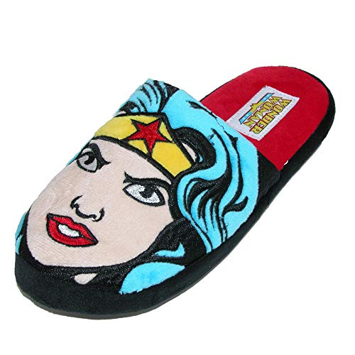 Bioworld Women's DC Comics Wonder Woman Novelty Slide Slippers, Small (5/6), Blue