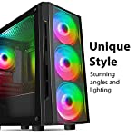 CiT-Flash-ARGB-PC-Gaming-Case-M-ATX-4-x-120mm-ARGB-Rainbow-Fans-Included-Tempered-Glass-LED-Button-8-Fan-Support-Water-Cooling-Ready-Black