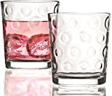 Circleware Circles Double Old Fashioned Whiskey Glasses, Set of 4, 13 oz., Clear