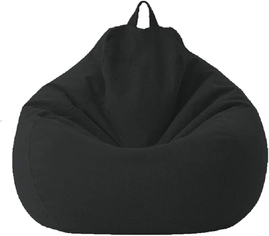 Classic Sofa Chairs Lazy Lounger Bean Bag Cover for Home Garden Lounge Living Room (Black, 100120cm)