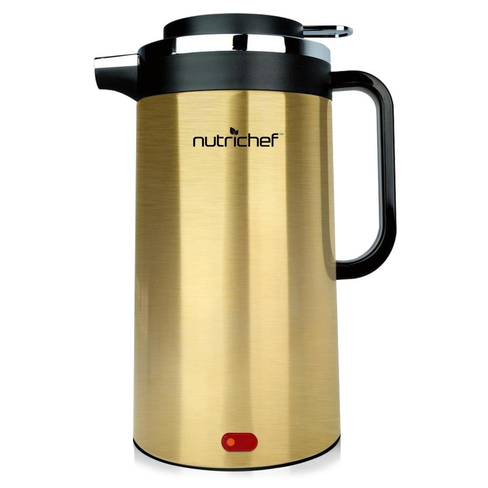 NutriChef Stainless Steel Electric Water Kettle for Pour over Coffee and Tea with Auto Shut Off, Convenient Easy-Pour Locking Spout 1.7 Liter PKWK23SR