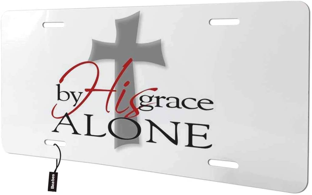 Beabes by His Grace Alone Front License Plate Cover,Cross Jesus Christ Bible Verse Decorative License Plates for Car,Aluminum Novelty Auto Car Tag Vanity Plates Gift for Men Women 6x12 Inch
