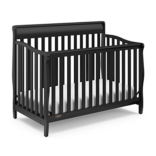 Graco Stanton Convertible Crib, Black, Easily Converts to Toddler Bed Day Bed or Full Bed, Three Position Adjustable Height Mattress, Some Assembly Required (Mattress Not Included)