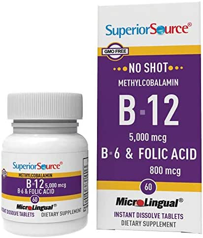Superior Source No Shot Methylcobalamin Vitamin B12/B6/Folic Acid Tablets, 5000 mcg/800 mcg, 60 Count