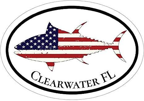 Florida Bumper Sticker Perfect FLA Beach Vacation Gift WickedGoodz Oval American Flag Tuna Clearwater FL Vinyl Decal