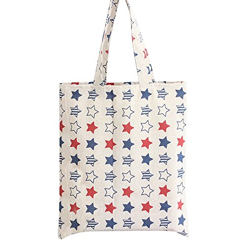 Flowertree Women's Cute Animal Print Canvas Tote Bag (L035-Star/Zip)
