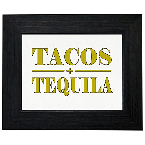 (Tacos & Tequila - Mexican Cino De Mayo Yellow Framed Print Poster Wall or Desk Mount)
