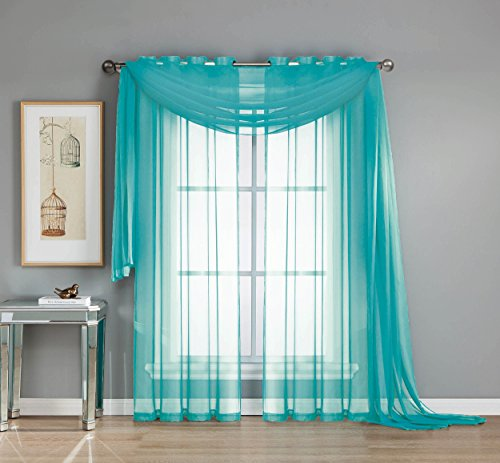 Window Elements Diamond Curtain Turquoise product image