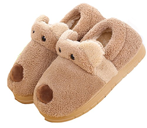 D.S.MOR Mens Bear Cute Winter Slippers Indoor Floor Slippers House Slippers Brown i5yddY0