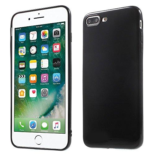 Solid Color Glossy TPU Jelly Tasche Hüllen Schutzhülle Case für iPhone 7 Plus 5.5 Inch - schwarz