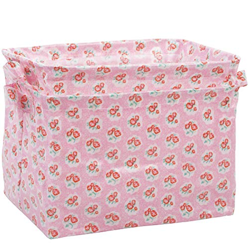 NEOVIVA Waterproof Open Storage Bin with Handles, Set of 2, Floral Sachet Pink
