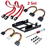 Sata Cable Wonderful Direct 2 x 2.5 Inch SSD to 3.5 Inch Internal Hard Disk Drive Mounting Kit Bracket (SATA Data Cables and Power Cables included) 2 Set