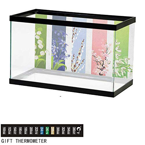 Jinguizi FlowerFish Tank BackdropSpring Flowers on Different Backgrounds Lily Blossoms Valley Primrose Floral Print36 L X 24