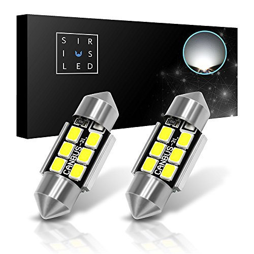 "SiriusLED Super Bright 2835 Chipset Canbus Error Free LED Festoon Bulbs for Car Interior Lights License Plate Dome 1.25"" 31MM Festoon 3175 DE3175 6428 6000K Xenon White Pack of 2"