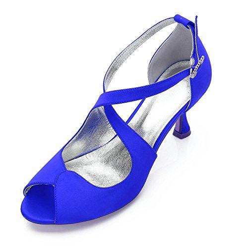 Frauen YC 17061 Frühling Seide Heels L Heels Toe Blue Evening Herbst Hochzeit 33 Sommer Party Peep 15qdtwC