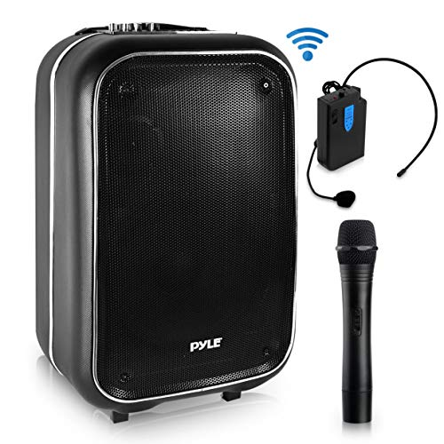 Wireless Portable PA Speaker System – 400 W Battery Powered Rechargeable Sound Stereo Speaker and Microphone Set with Bluetooth MP3 USB Micro SD FM Radio AUX – For Outdoor DJ Party – Pyle PWMA825BT