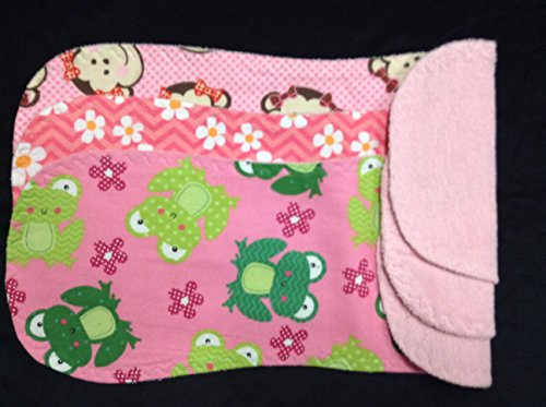 Baby Girl Cotton BURP CLOTHS, MONKEYS, FROGS, DAISIES, Set of 3 Large Burp Rags, Absorbent Terry, Soft Flannel, Baby Gift, BABY SHOWER, Pink Breastfeeding Cloth, chevron burpcloths (Frog Terry)