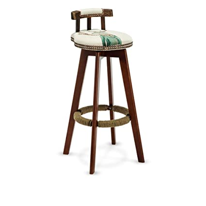 Amazoncom Geyobby Solid Wood Bar Chairround Fabric Seat Chair