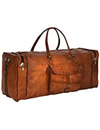Genuine Leather Travel Duffel Weekender Gym Shoulder Holdall Vintage Bag Unisex Brown
