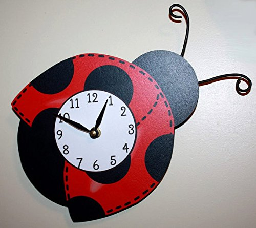 Red Mod Ladybug Wooden WALL CLOCK for Girls Bedroom Baby Nursery (Mod Ladybug Wall)