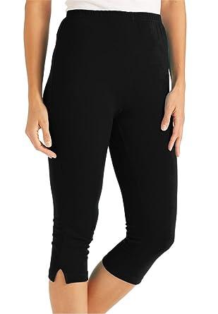 Women's Plus Size Leggings, Capri Length In Stretch Knit at Amazon ...