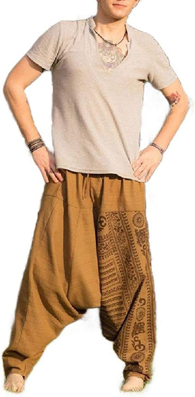 YAXINHE Men's Hippie Harem Closed Bottom Low Crotch Ethnic Style Pull-on Pants