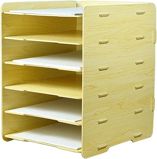 TOPBATHY Caja de almacenamiento de archivos de escritorio de madera con 6 cajones de 3 capas, contenedor de papelería, portadocumentos A4: Amazon.es: Hogar