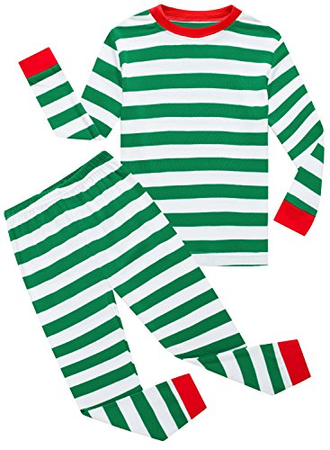 Family Feeling Striped Little Boys Girls Christmas 2 Piece Pajamas Set 100% Cotton Pjs Green Size 3T