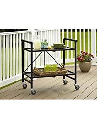 Serving Cart For Dining Room Outdoor Folding Rolling Wheels Bar Portable Trolley Storage