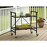 Outdoor Kitchen Cart Serving Cart for Dining Room Outdoor Folding Rolling Wheels Serving Cart Bar wheels Portable Trolley Storage Home Kitchen Indoor Food Cocktail Living Room Foldable Shelves Metal Bronze