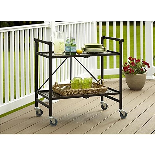 Serving Cart for Dining Room Outdoor Folding Rolling Wheels Serving Cart Bar wheels Portable Trolley Storage Home Kitchen Indoor Food Cocktail Living Room Foldable Shelves Metal Bronze