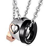 Aienid Couple Necklaces for Women and Men Stainless Steel Forever Love Heart Pendant Matching with Chain