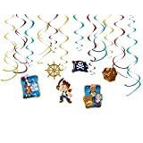 Diseny Jake and the Neverland Pirates Party Foil Hanging Swirl Decorations / Spiral Ornaments (12 PCS)- Party Supply, Party Decorations by Disney